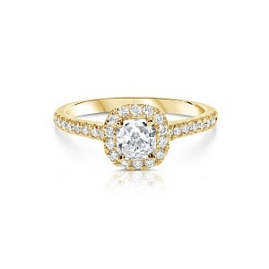 Cushion diamond halo diamonds yellow gold ring model May