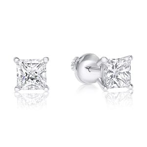 Princess cut diamonds stud earrings model fa 0.80 carats