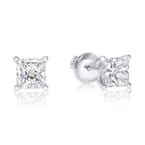Princess cut diamonds stud earrings model fa 0.80 carats